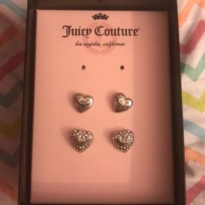 2 pairs of Juicy Couture Studded Heart Earrings